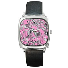 Foolish Movements Pink Effect Jpg Square Leather Watch