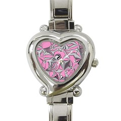 Foolish Movements Pink Effect Jpg Heart Italian Charm Watch