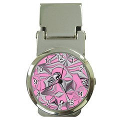 Foolish Movements Pink Effect Jpg Money Clip with Watch