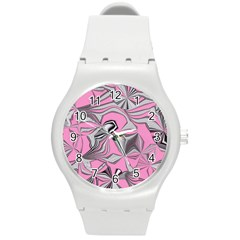 Foolish Movements Pink Effect Jpg Plastic Sport Watch (Medium)