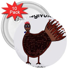 Turkey 3  Button (10 pack)