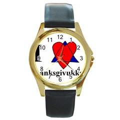 Heartstar Round Metal Watch (Gold Rim)