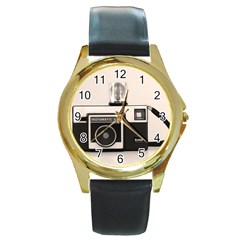 Kodak (3)s Round Metal Watch (Gold Rim)