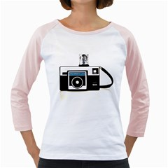 Kodak (3)c Womens  Long Sleeve Raglan T-shirt (White)