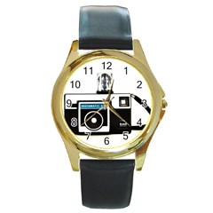Kodak (3)c Round Metal Watch (Gold Rim)