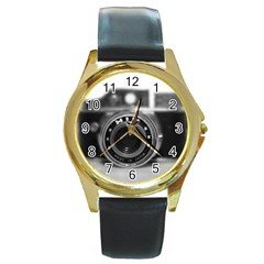 Hit Camera (2) Round Metal Watch (gold Rim)