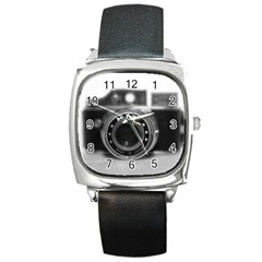 Hit Camera (2) Square Leather Watch
