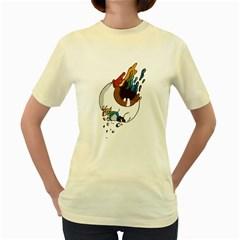 Eyeball   Womens  T-shirt (Yellow)
