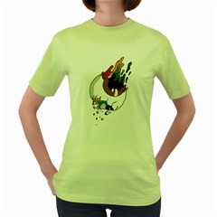 Eyeball  Womens  T-shirt (Green)