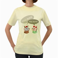 Argument of evil ice-creams  Womens  T-shirt (Yellow)