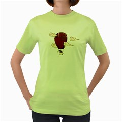 The Kiwi Learns To Fly Womens  T Shirt (green)