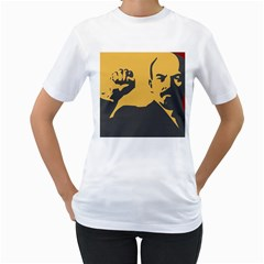 POWER WITH LENIN Womens  T-shirt (White)