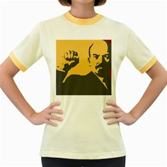 POWER WITH LENIN Womens  Ringer T-shirt (Colored)