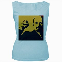 Power With Lenin Womens  Tank Top (baby Blue)