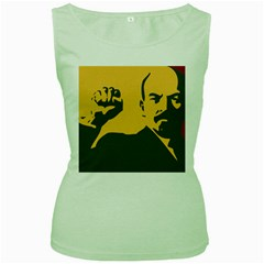POWER WITH LENIN Womens  Tank Top (Green)