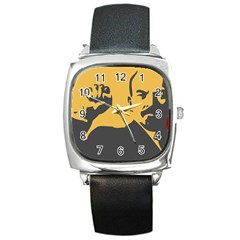 Power With Lenin Square Leather Watch