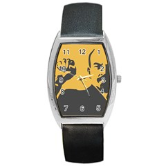 POWER WITH LENIN Tonneau Leather Watch