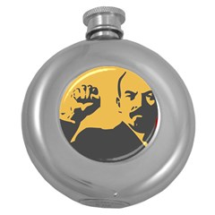 POWER WITH LENIN Hip Flask (Round)