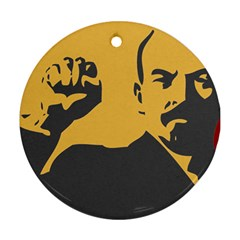 Power With Lenin Round Ornament (two Sides)