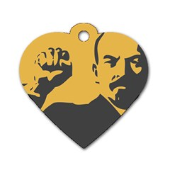 POWER WITH LENIN Dog Tag Heart (Two Sided)