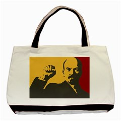 Power With Lenin Twin Sided Black Tote Bag