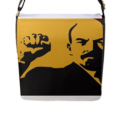 POWER WITH LENIN Flap Closure Messenger Bag (Large)