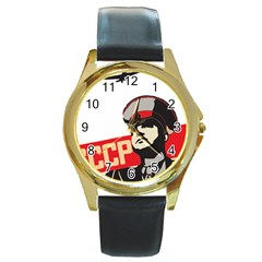 Soviet Red Army Round Metal Watch (Gold Rim)