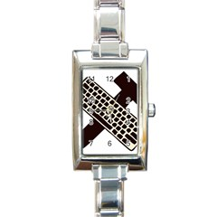 Hammer And Keyboard  Rectangular Italian Charm Watch
