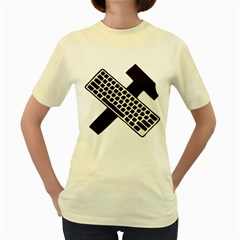 Hammer And Keyboard   Womens  T-shirt (Yellow)