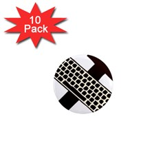 Hammer And Keyboard  1  Mini Button Magnet (10 Pack)