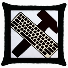 Hammer And Keyboard  Black Throw Pillow Case