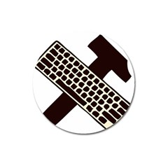 Hammer And Keyboard  Magnet 3  (Round)