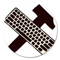 Hammer And Keyboard  Magnet 5  (Round)