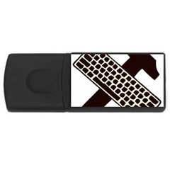 Hammer And Keyboard  1GB USB Flash Drive (Rectangle)