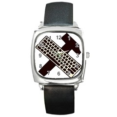 Hammer And Keyboard  Square Leather Watch
