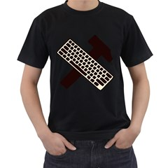 Hammer And Keyboard  Mens' Two Sided T-shirt (Black)
