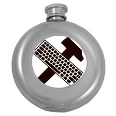 Hammer And Keyboard  Hip Flask (round)
