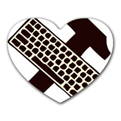 Hammer And Keyboard  Mouse Pad (Heart)