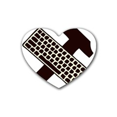 Hammer And Keyboard  Drink Coasters 4 Pack (Heart)