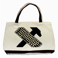 Hammer And Keyboard  Twin-sided Black Tote Bag