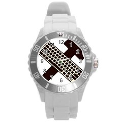 Hammer And Keyboard  Plastic Sport Watch (Large)