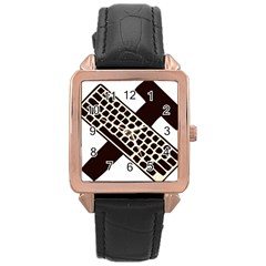 Hammer And Keyboard  Rose Gold Leather Watch
