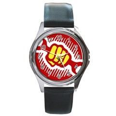 Power To The People Round Metal Watch (silver Rim)