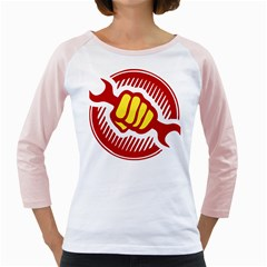 power to the people Womens  Long Sleeve Raglan T-shirt (White)