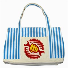 Power To The People Blue Striped Tote Bag