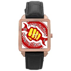 Power To The People Rose Gold Leather Watch
