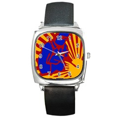 Soviet Robot Worker  Square Leather Watch