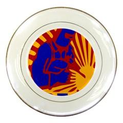 Soviet Robot Worker  Porcelain Display Plate