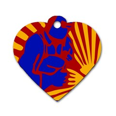 Soviet Robot Worker  Dog Tag Heart (Two Sided)