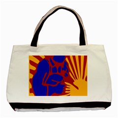 Soviet Robot Worker  Twin-sided Black Tote Bag